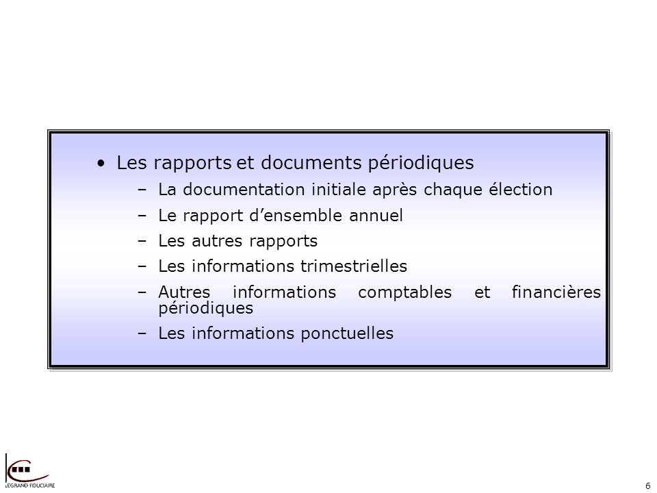 6 Les rapports et documents périodiques –La documentation initiale après chaque élection –Le rapport densemble annuel –Les autres rapports –Les inform
