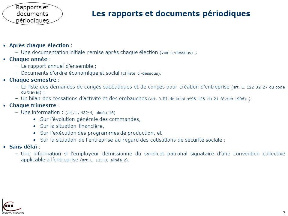 7 Les rapports et documents périodiques Après chaque élection : –Une documentation initiale remise après chaque élection (voir ci-dessous) ; Chaque an