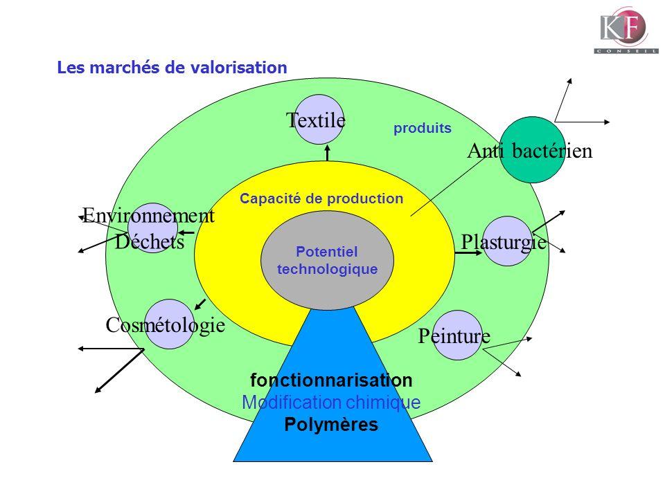 Les marchés de valorisation Capacité de production Environnement Déchets fonctionnarisation Modification chimique Polymères Potentiel technologique Co