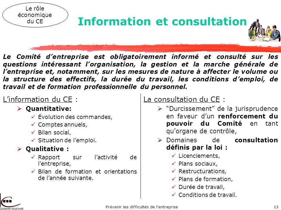 Prévenir les difficultés de l entreprise13 Linformation du CE : Quantitative: Évolution des commandes, Comptes annuels, Bilan social, Situation de lemploi.