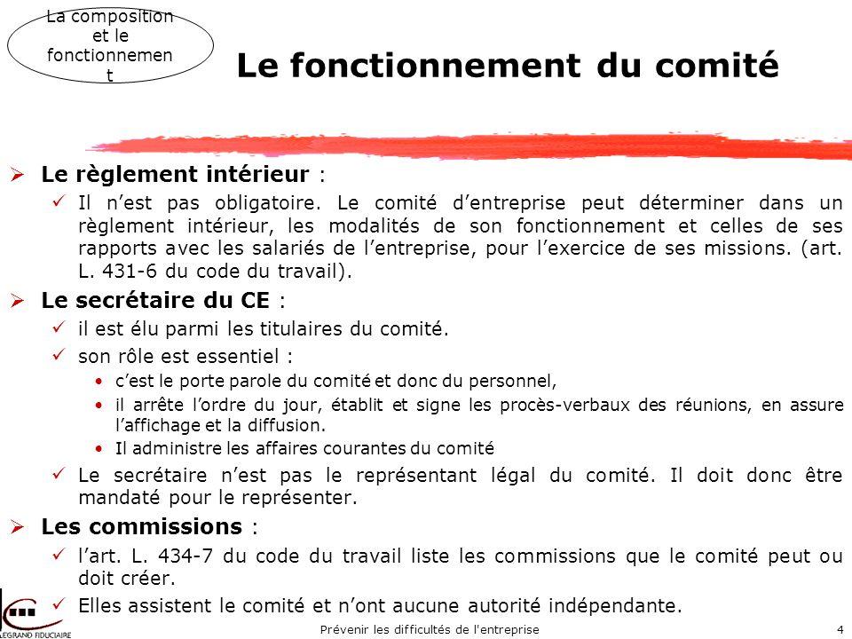 Prévenir les difficultés de l entreprise4 Le fonctionnement du comité Le règlement intérieur : Il nest pas obligatoire.