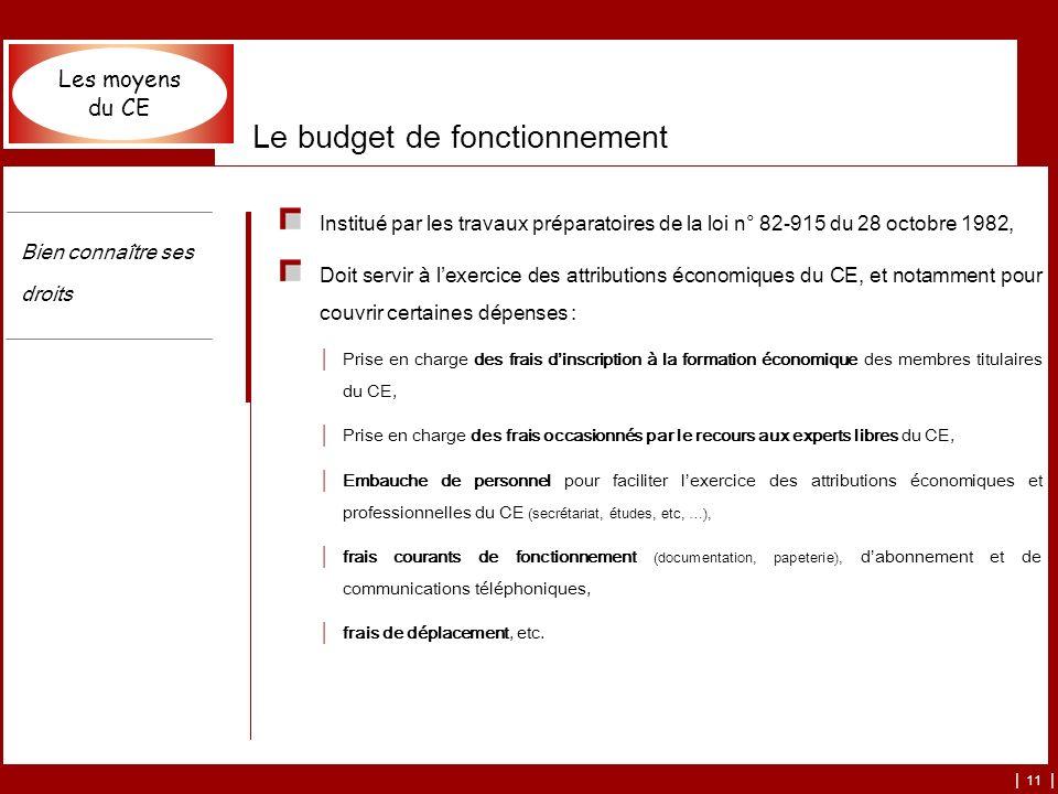 | 11 | Le budget de fonctionnement Institué par les travaux préparatoires de la loi n° 82-915 du 28 octobre 1982, Doit servir à lexercice des attribut
