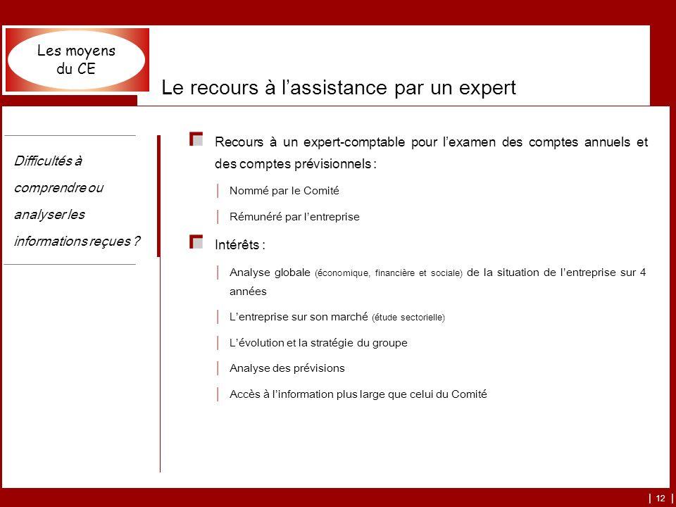 | 12 | Le recours à lassistance par un expert Recours à un expert-comptable pour lexamen des comptes annuels et des comptes prévisionnels : Nommé par