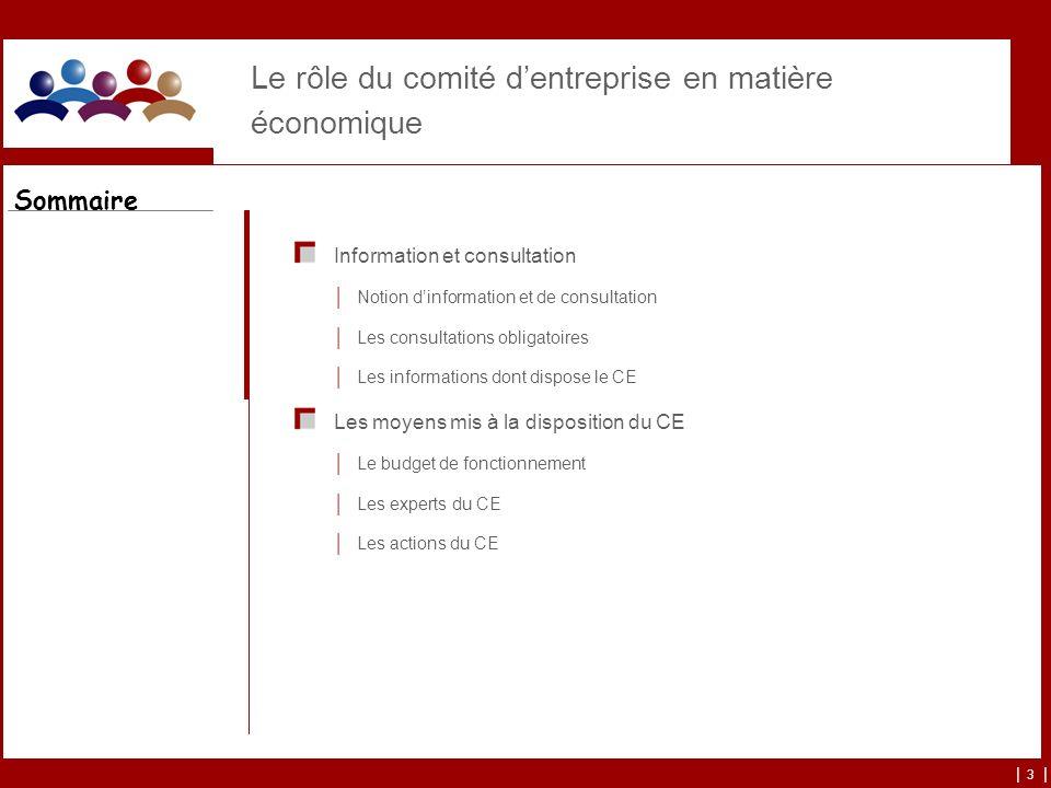 | 3 | Le rôle du comité dentreprise en matière économique Information et consultation Notion dinformation et de consultation Les consultations obligat