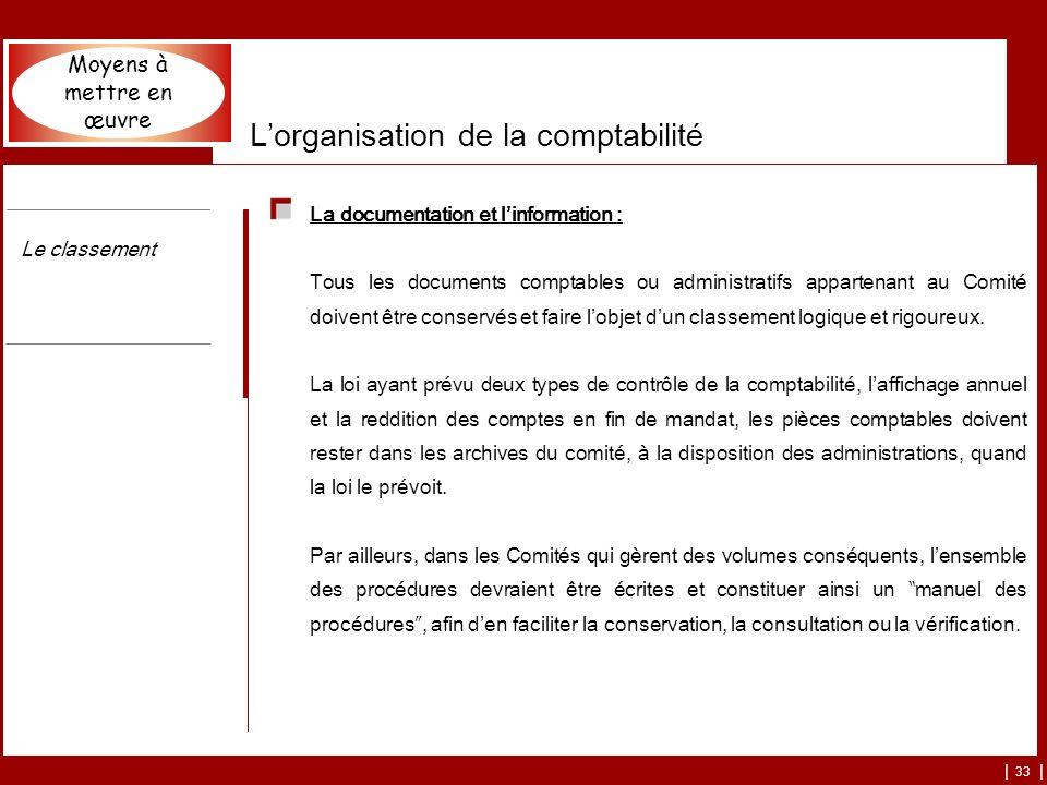 | 33 | Lorganisation de la comptabilité La documentation et linformation : Tous les documents comptables ou administratifs appartenant au Comité doivent être conservés et faire lobjet dun classement logique et rigoureux.