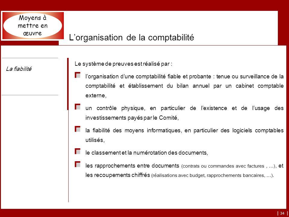 | 34 | Lorganisation de la comptabilité Le système de preuves est réalisé par : lorganisation dune comptabilité fiable et probante : tenue ou surveill