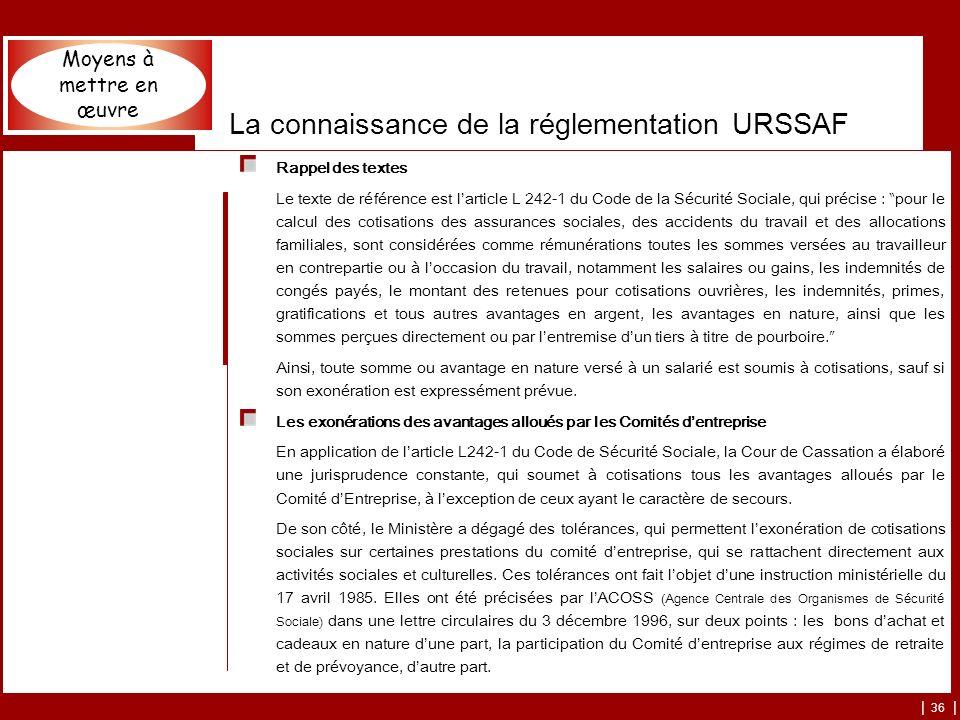 | 36 | La connaissance de la réglementation URSSAF Rappel des textes Le texte de référence est larticle L 242-1 du Code de la Sécurité Sociale, qui pr
