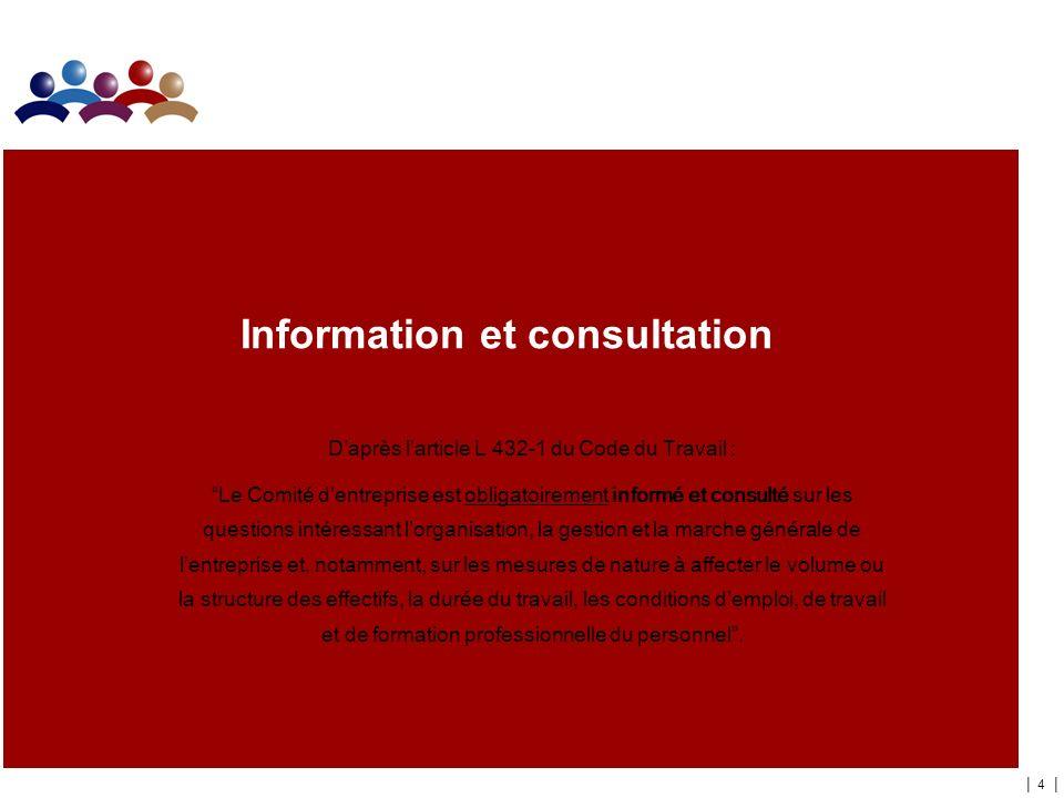 | 4 | Information et consultation Daprès larticle L 432-1 du Code du Travail : Le Comité dentreprise est obligatoirement informé et consulté sur les q