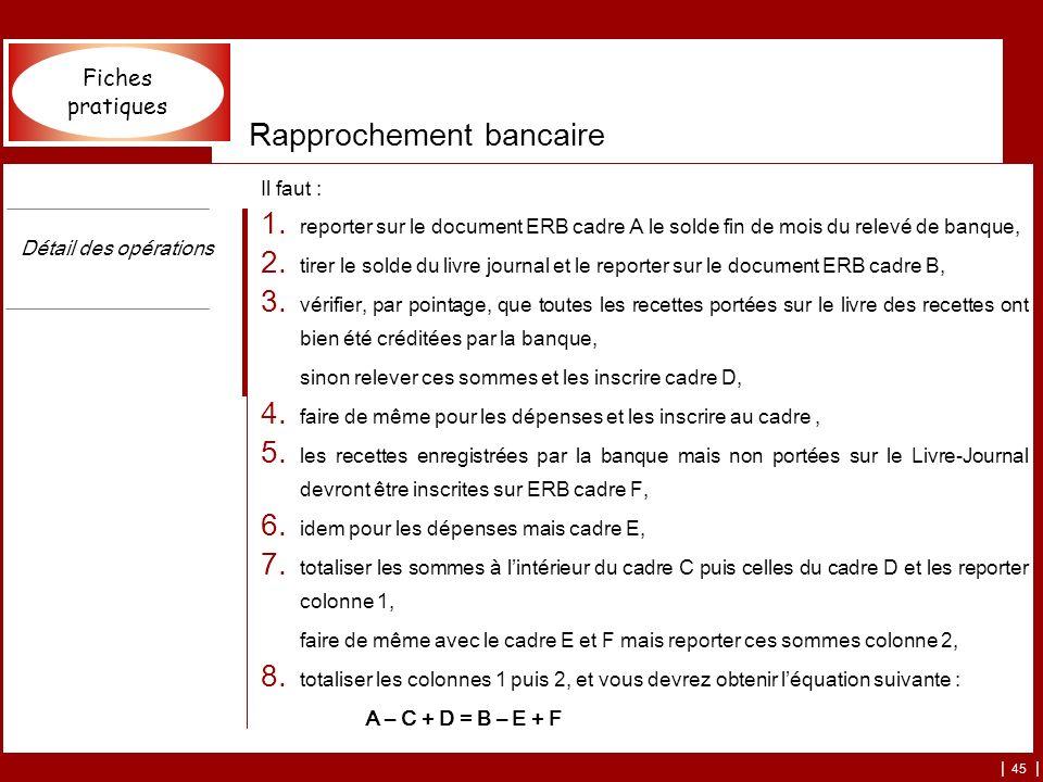 | 45 | Rapprochement bancaire Il faut : 1. reporter sur le document ERB cadre A le solde fin de mois du relevé de banque, 2. tirer le solde du livre j