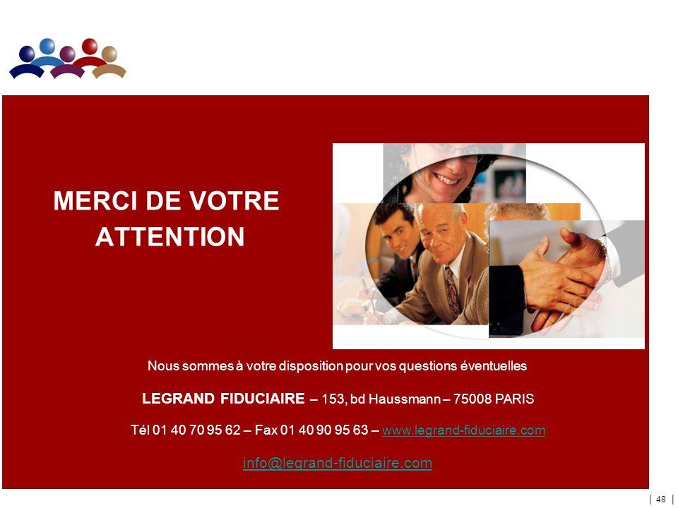 | 48 | Nous sommes à votre disposition pour vos questions éventuelles LEGRAND FIDUCIAIRE – 153, bd Haussmann – 75008 PARIS Tél 01 40 70 95 62 – Fax 01 40 90 95 63 – www.legrand-fiduciaire.com info@legrand-fiduciaire.com MERCI DE VOTRE ATTENTION