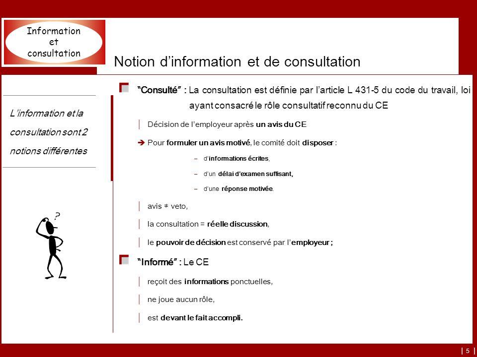 | 5 | Consulté : La consultation est définie par larticle L 431-5 du code du travail, loi ayant consacré le rôle consultatif reconnu du CE Décision de