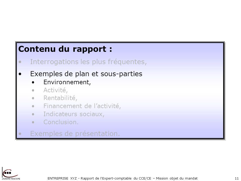 ENTREPRISE XYZ - Rapport de l Expert-comptable du CCE/CE – Mission objet du mandat11 Contenu du rapport : Interrogations les plus fréquentes, Exemples de plan et sous-parties Environnement, Activité, Rentabilité, Financement de lactivité, Indicateurs sociaux, Conclusion.