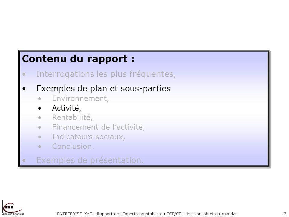ENTREPRISE XYZ - Rapport de l'Expert-comptable du CCE/CE – Mission objet du mandat13 Contenu du rapport : Interrogations les plus fréquentes, Exemples