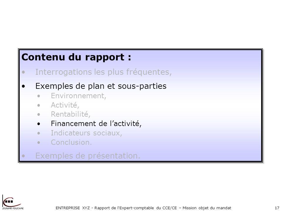 ENTREPRISE XYZ - Rapport de l'Expert-comptable du CCE/CE – Mission objet du mandat17 Contenu du rapport : Interrogations les plus fréquentes, Exemples