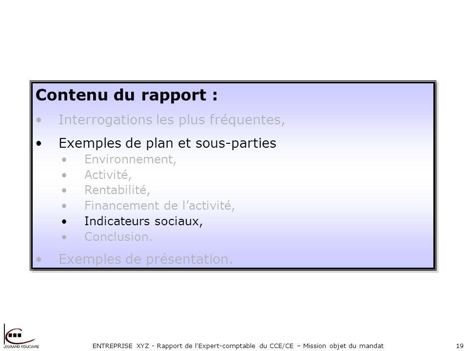 ENTREPRISE XYZ - Rapport de l Expert-comptable du CCE/CE – Mission objet du mandat19 Contenu du rapport : Interrogations les plus fréquentes, Exemples de plan et sous-parties Environnement, Activité, Rentabilité, Financement de lactivité, Indicateurs sociaux, Conclusion.