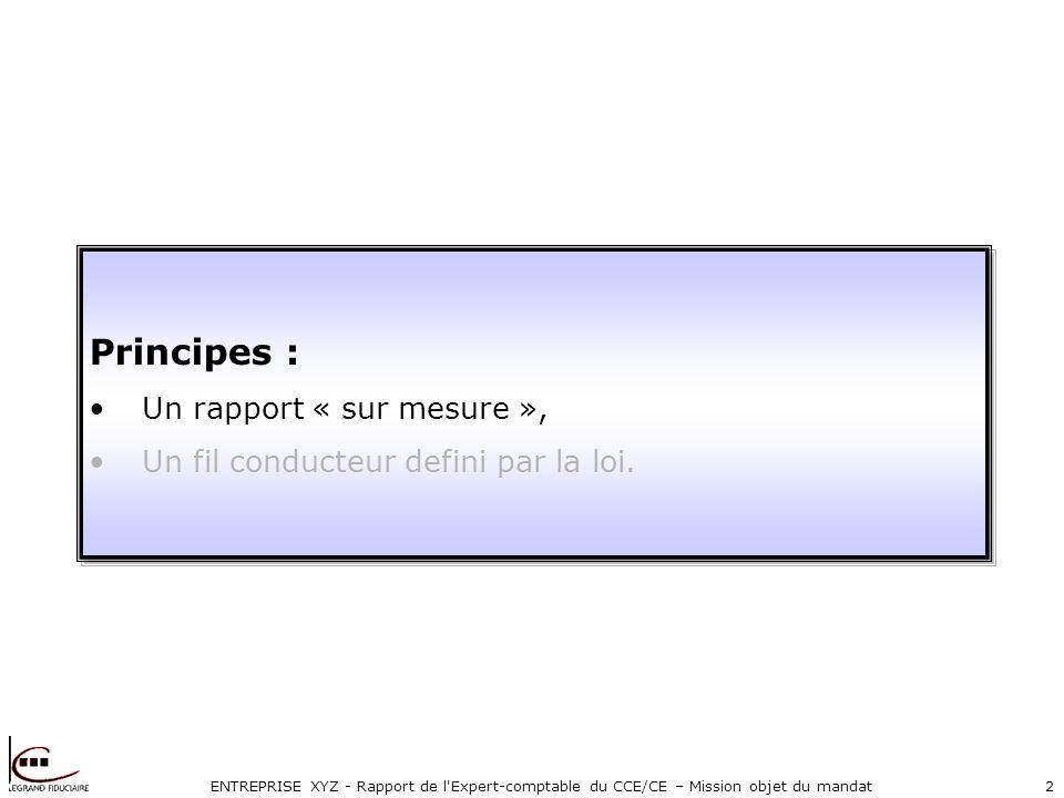 ENTREPRISE XYZ - Rapport de l Expert-comptable du CCE/CE – Mission objet du mandat2 Principes : Un rapport « sur mesure », Un fil conducteur defini par la loi.