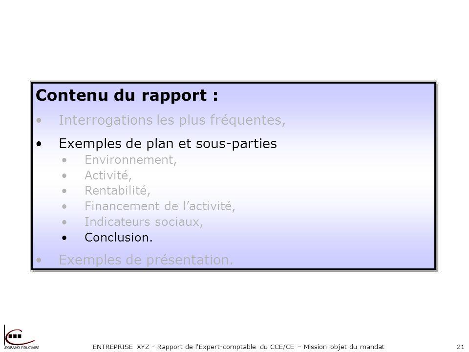 ENTREPRISE XYZ - Rapport de l Expert-comptable du CCE/CE – Mission objet du mandat21 Contenu du rapport : Interrogations les plus fréquentes, Exemples de plan et sous-parties Environnement, Activité, Rentabilité, Financement de lactivité, Indicateurs sociaux, Conclusion.