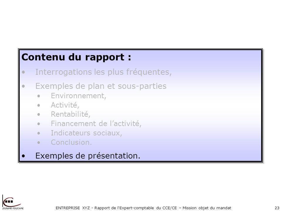 ENTREPRISE XYZ - Rapport de l Expert-comptable du CCE/CE – Mission objet du mandat23 Contenu du rapport : Interrogations les plus fréquentes, Exemples de plan et sous-parties Environnement, Activité, Rentabilité, Financement de lactivité, Indicateurs sociaux, Conclusion.