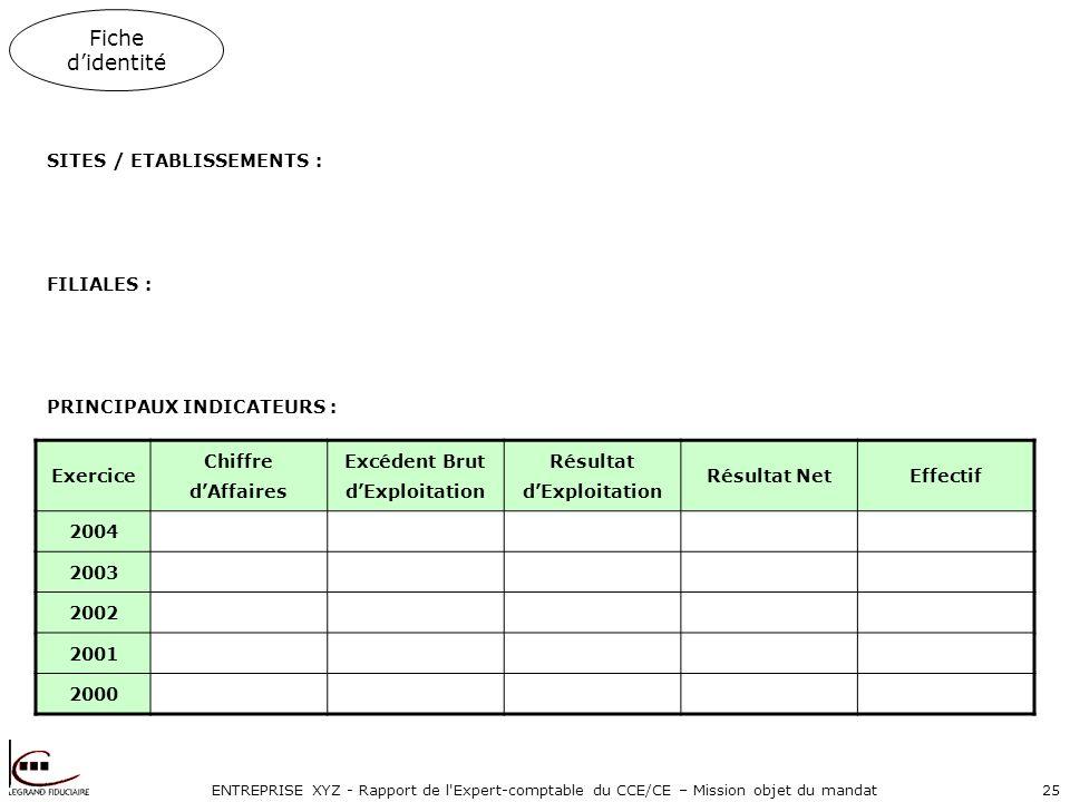 ENTREPRISE XYZ - Rapport de l Expert-comptable du CCE/CE – Mission objet du mandat25 Fiche didentité SITES / ETABLISSEMENTS : FILIALES : PRINCIPAUX INDICATEURS : Exercice Chiffre dAffaires Excédent Brut dExploitation Résultat dExploitation Résultat NetEffectif 2004 2003 2002 2001 2000