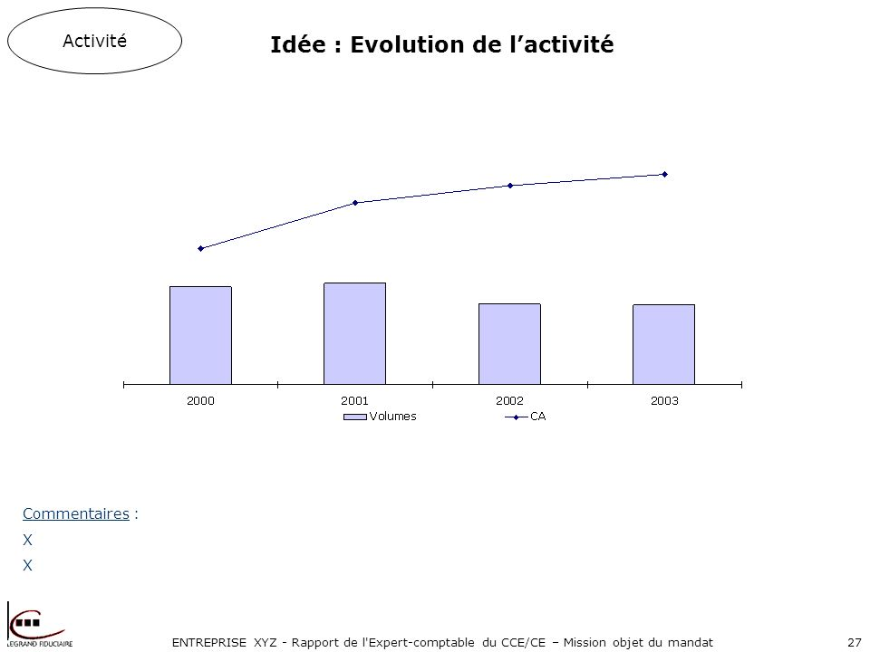 ENTREPRISE XYZ - Rapport de l'Expert-comptable du CCE/CE – Mission objet du mandat27 Activité Commentaires : X Idée : Evolution de lactivité