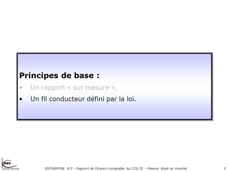 ENTREPRISE XYZ - Rapport de l Expert-comptable du CCE/CE – Mission objet du mandat5 Principes de base : Un rapport « sur mesure », Un fil conducteur défini par la loi.
