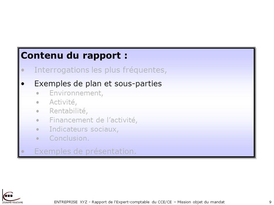 ENTREPRISE XYZ - Rapport de l Expert-comptable du CCE/CE – Mission objet du mandat9 Contenu du rapport : Interrogations les plus fréquentes, Exemples de plan et sous-parties Environnement, Activité, Rentabilité, Financement de lactivité, Indicateurs sociaux, Conclusion.