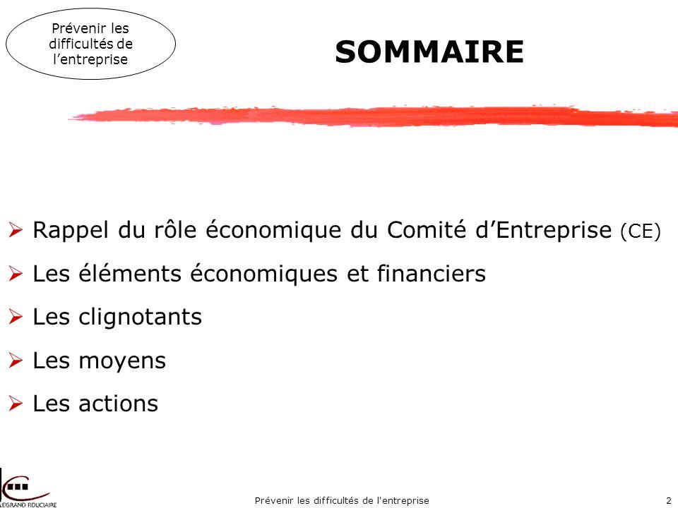 Prévenir les difficultés de l entreprise2 SOMMAIRE Rappel du rôle économique du Comité dEntreprise (CE) Les éléments économiques et financiers Les clignotants Les moyens Les actions Prévenir les difficultés de lentreprise