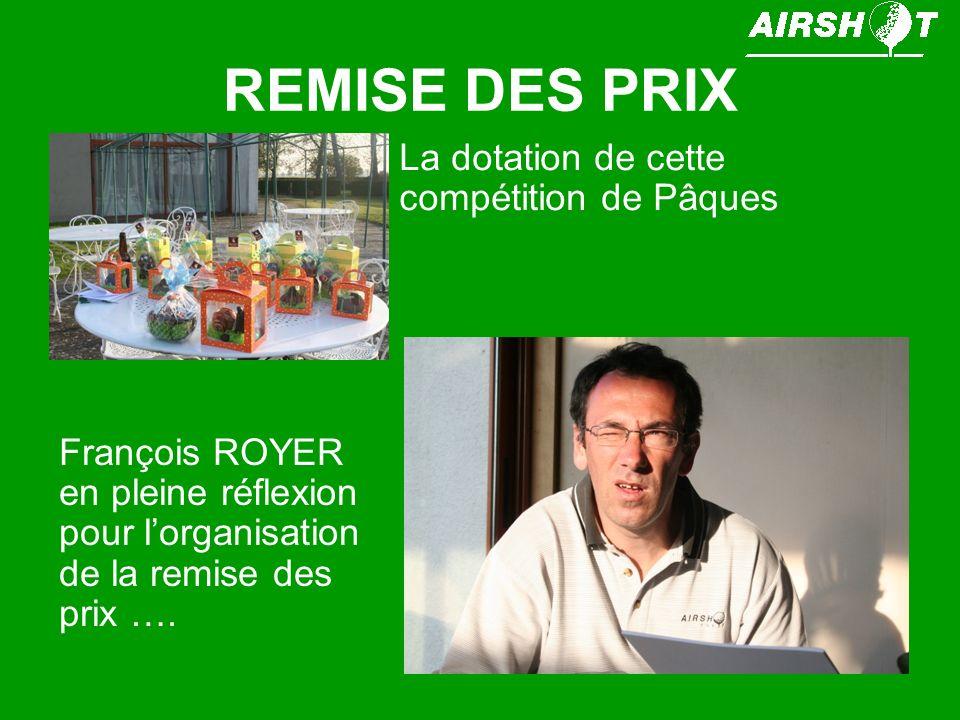 REMISE DES PRIX La dotation de cette compétition de Pâques François ROYER en pleine réflexion pour lorganisation de la remise des prix ….