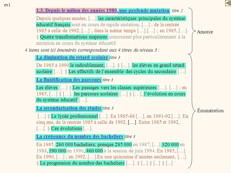 1.3. Depuis le milieu des années 1980, une profonde mutation titre 2 Depuis quelques années, […] les caractéristiques principales du système éducatif