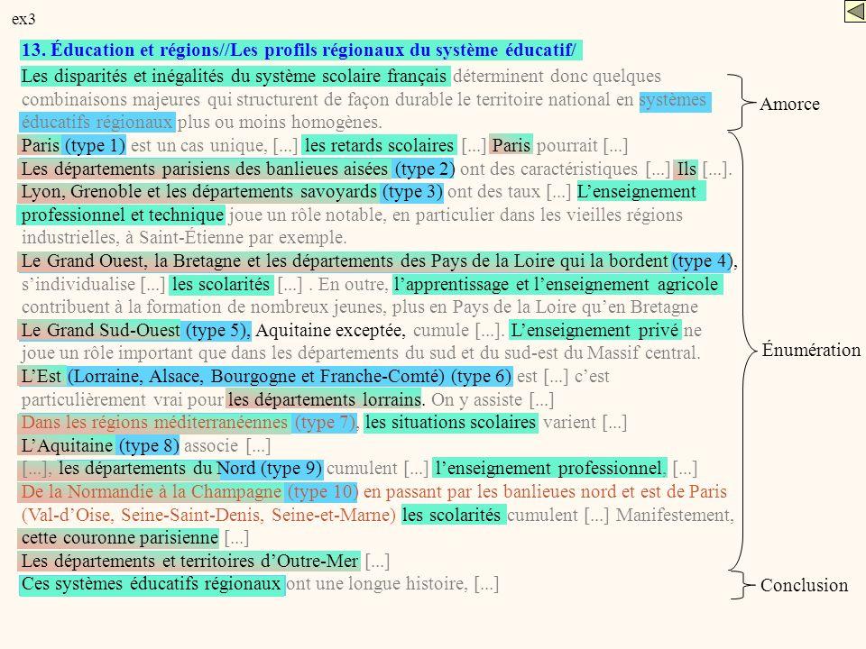 13. Éducation et régions//Les profils régionaux du système éducatif/ Les disparités et inégalités du système scolaire français déterminent donc quelqu