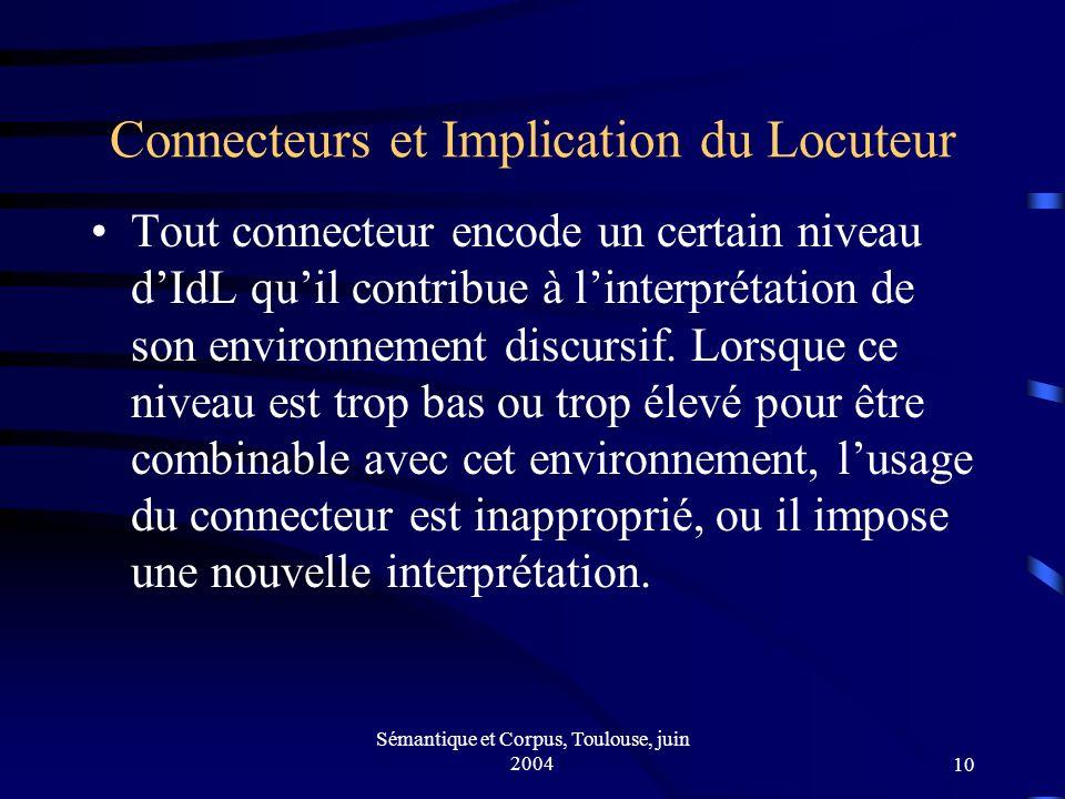 Sémantique et Corpus, Toulouse, juin 200410 Connecteurs et Implication du Locuteur Tout connecteur encode un certain niveau dIdL quil contribue à linterprétation de son environnement discursif.