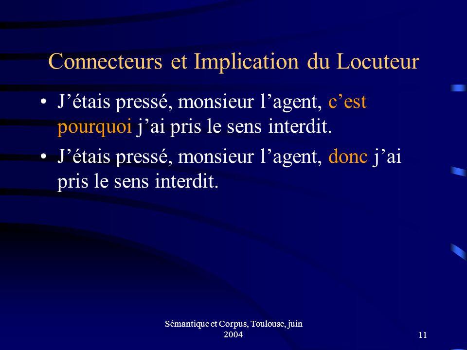 Sémantique et Corpus, Toulouse, juin 200411 Connecteurs et Implication du Locuteur Jétais pressé, monsieur lagent, cest pourquoi jai pris le sens interdit.