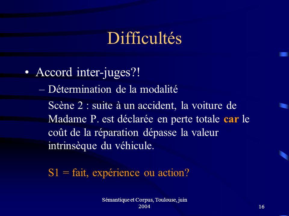 Sémantique et Corpus, Toulouse, juin 200416 Difficultés Accord inter-juges .
