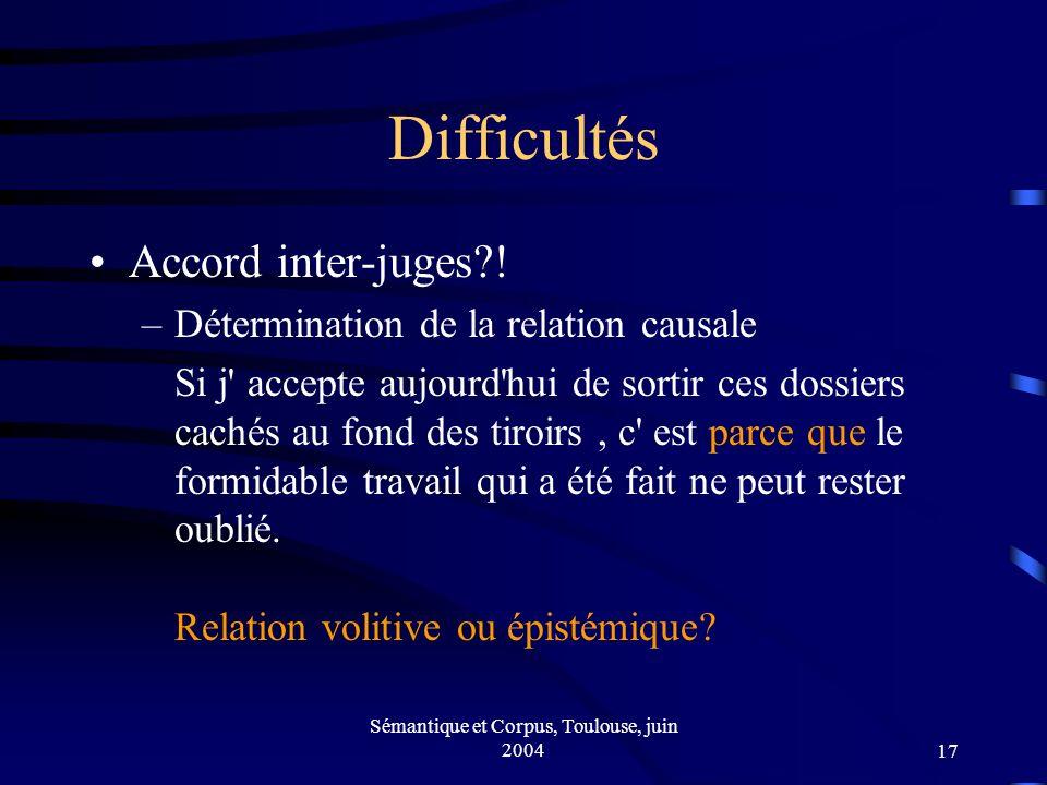 Sémantique et Corpus, Toulouse, juin 200417 Difficultés Accord inter-juges .