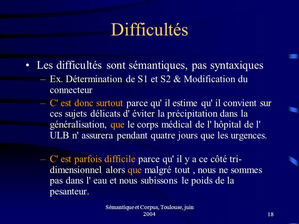 Sémantique et Corpus, Toulouse, juin 200418 Difficultés Les difficultés sont sémantiques, pas syntaxiques –Ex.