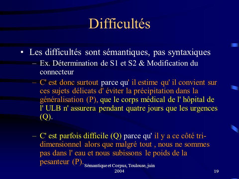 Sémantique et Corpus, Toulouse, juin 200419 Difficultés Les difficultés sont sémantiques, pas syntaxiques –Ex.