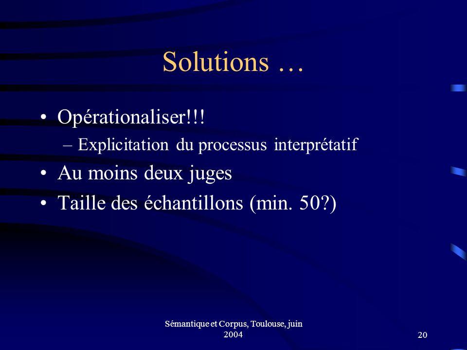 Sémantique et Corpus, Toulouse, juin 200420 Solutions … Opérationaliser!!.