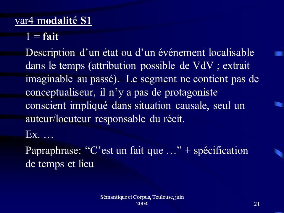Sémantique et Corpus, Toulouse, juin 200421 var4 modalité S1 1 = fait Description dun état ou dun événement localisable dans le temps (attribution possible de VdV ; extrait imaginable au passé).