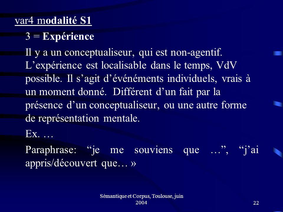 Sémantique et Corpus, Toulouse, juin 200422 var4 modalité S1 3 = Expérience Il y a un conceptualiseur, qui est non-agentif.