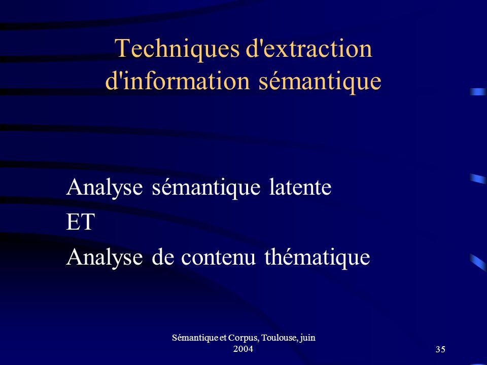 Sémantique et Corpus, Toulouse, juin 200435 Techniques d extraction d information sémantique Analyse sémantique latente ET Analyse de contenu thématique