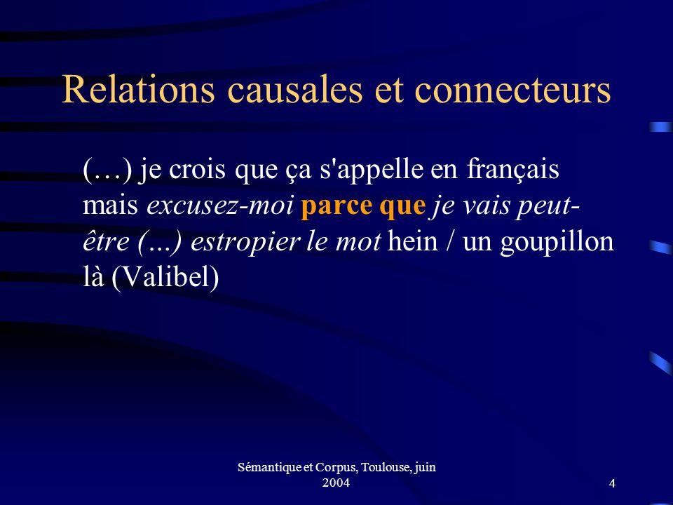 Sémantique et Corpus, Toulouse, juin 20044 Relations causales et connecteurs (…) je crois que ça s appelle en français mais excusez-moi parce que je vais peut- être (…) estropier le mot hein / un goupillon là (Valibel)