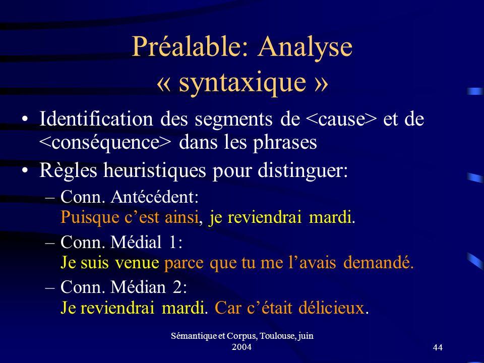 Sémantique et Corpus, Toulouse, juin 200444 Préalable: Analyse « syntaxique » Identification des segments de et de dans les phrases Règles heuristiques pour distinguer: –Conn.