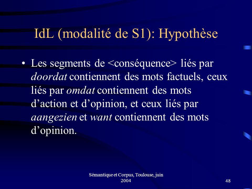 Sémantique et Corpus, Toulouse, juin 200448 IdL (modalité de S1): Hypothèse Les segments de liés par doordat contiennent des mots factuels, ceux liés par omdat contiennent des mots daction et dopinion, et ceux liés par aangezien et want contiennent des mots dopinion.
