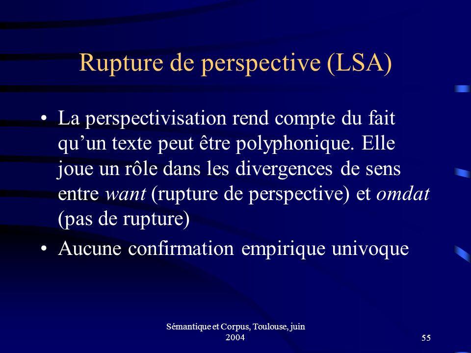 Sémantique et Corpus, Toulouse, juin 200455 Rupture de perspective (LSA) La perspectivisation rend compte du fait quun texte peut être polyphonique.