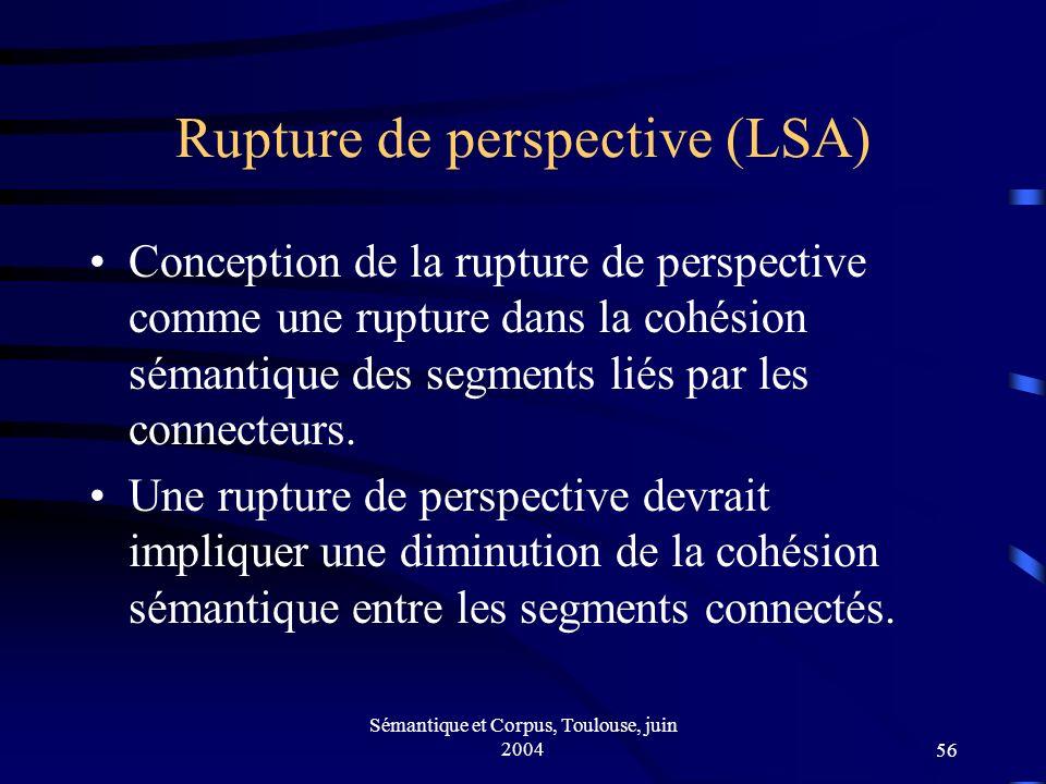 Sémantique et Corpus, Toulouse, juin 200456 Rupture de perspective (LSA) Conception de la rupture de perspective comme une rupture dans la cohésion sémantique des segments liés par les connecteurs.