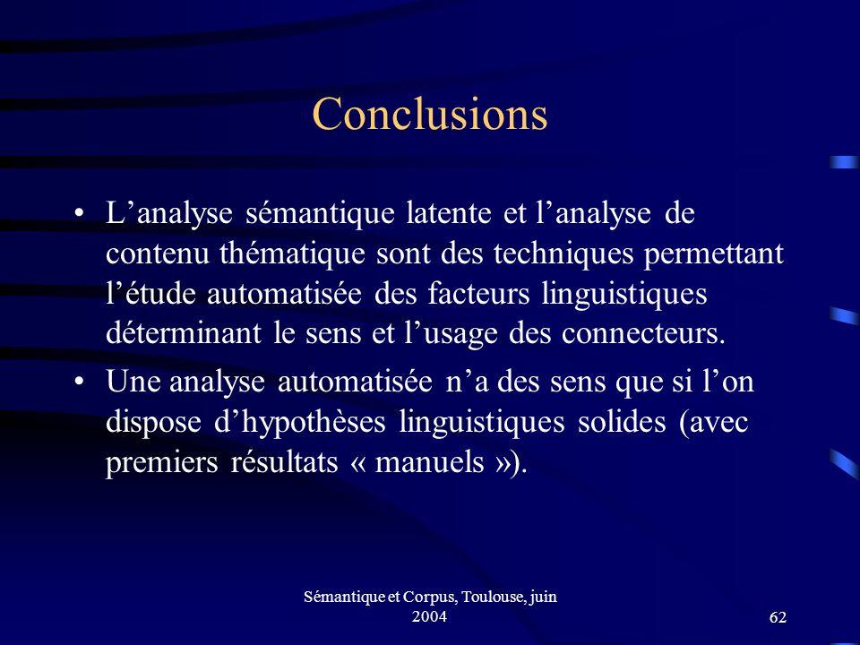 Sémantique et Corpus, Toulouse, juin 200462 Conclusions Lanalyse sémantique latente et lanalyse de contenu thématique sont des techniques permettant létude automatisée des facteurs linguistiques déterminant le sens et lusage des connecteurs.