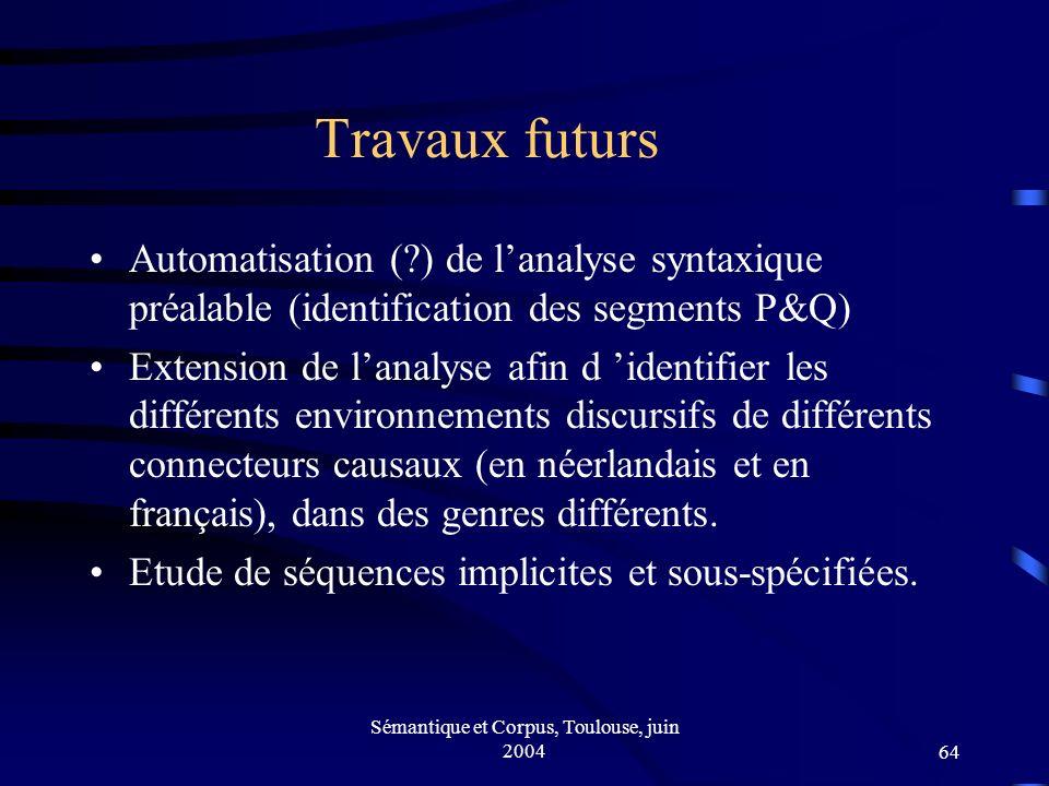 Sémantique et Corpus, Toulouse, juin 200464 Travaux futurs Automatisation ( ) de lanalyse syntaxique préalable (identification des segments P&Q) Extension de lanalyse afin d identifier les différents environnements discursifs de différents connecteurs causaux (en néerlandais et en français), dans des genres différents.