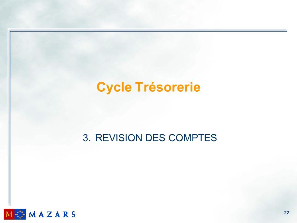 22 Cycle Trésorerie 3. REVISION DES COMPTES