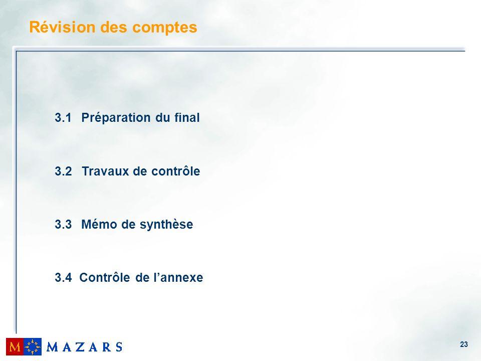 23 3.1 Préparation du final 3.2 Travaux de contrôle 3.3 Mémo de synthèse 3.4 Contrôle de lannexe Révision des comptes