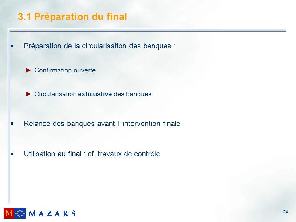 24 3.1 Préparation du final Préparation de la circularisation des banques : Confirmation ouverte Circularisation exhaustive des banques Relance des ba